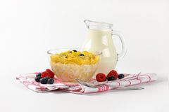 Corn flakes with milk Stock Images