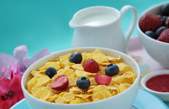 Corn flakes and milk prepared for breakfast. Fresh strawberries and blueberries on background. Bowl of cornflakes, fresh fruits and milk. Healthy breakfast Royalty Free Stock Images