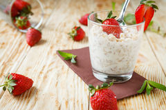 Corn flakes with milk and strawberries Royalty Free Stock Photo