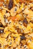 Corn-Flakes mit Mandel, Honig, indischem Sesam und Trockenfrüchten Lizenzfreie Stockbilder
