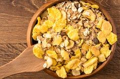Corn flakes and oatmeal muesli. Top view Stock Photo