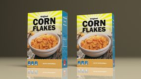 Corn flakes paper packages. 3d illustration Royalty Free Stock Photography