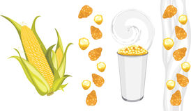 Corn flakes and popcorn products Stock Photos