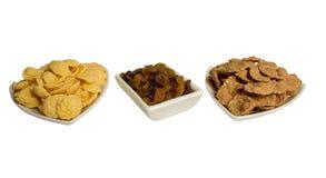 Corn flakes with raisin, fitness breakfast royalty free stock photos