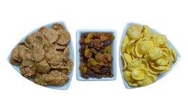 Corn flakes with raisin, fitness breakfast stock photography
