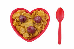 Corn flakes with raspberries Royalty Free Stock Photos