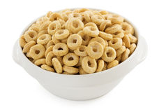 Corn flakes rings on white Royalty Free Stock Images