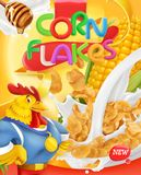 Corn flakes, rooster mascot. Honey and milk splashes. 3d vector, package design Royalty Free Stock Image