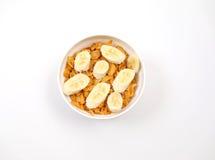Corn flakes with sliced bananas Stock Photo