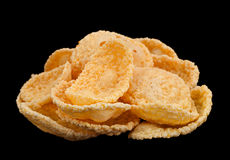 Corn flakes snack on black background Royalty Free Stock Images