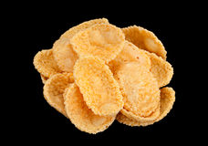 Corn flakes snack on black background Royalty Free Stock Image