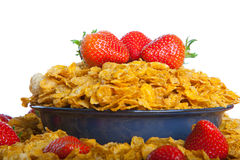 Corn Flakes With Strawberries. Cereal In A Bowl With Milk And Strawberries Stock Image