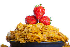 Corn Flakes With Strawberries. Cereal In A Bowl With Milk And Strawberries Royalty Free Stock Photography