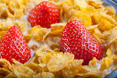 Corn Flakes With Strawberries. Cereal In A Bowl With Milk And Strawberries Stock Photos