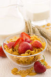 Corn Flakes with Strawberries Stock Image