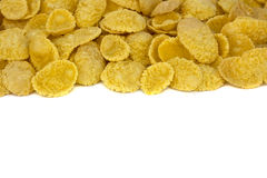 Corn flakes top view on white background stock photography