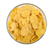 Corn flakes in transparent bowl isolated on white Stock Image