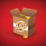 Corn flakes vector label on box Royalty Free Stock Image
