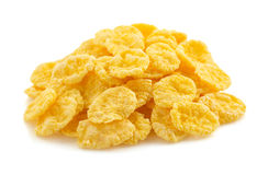 Corn flakes on white Royalty Free Stock Image