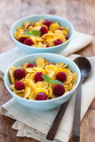 Corn Flakes With Raspberry Royalty Free Stock Images