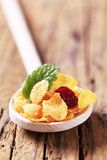 Corn flakes on wooden spoon Stock Photography