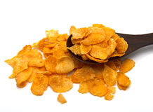 Corn flakes and wooden spoon stock photo