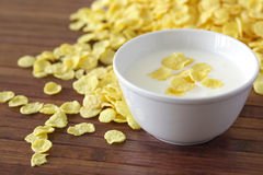 corn flakes and yoghurt Royalty Free Stock Images