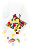 Corn flakes with yoghurt, honey, walnuts raspberries and blueber Royalty Free Stock Photography