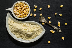 Corn flour and corn on the surface of the shale Stock Image