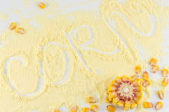 Corn flour with the word corn written in it Stock Images
