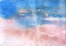 Corn flower blue vague watercolor paper. Hand-drawn abstract watercolor texture. Used contrasting and transient colors Royalty Free Stock Photo