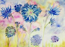 Corn flowers with buds. The dabbing technique near the edges gives a soft focus effect due to the altered surface roughness of the paper Royalty Free Stock Photos