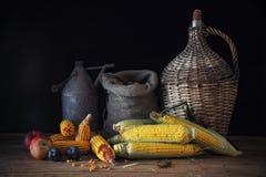 Corn and fruit Stock Photo