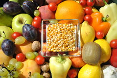 Corn, Fruits And Vegetables Royalty Free Stock Photography