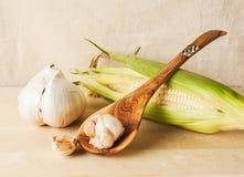 Corn, Garlic & Spoon Royalty Free Stock Photo