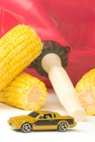 Corn gas. A gas can with corn around it and small car Royalty Free Stock Images