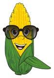 Corn in glasses. Happy face of corn in black sunglasses Stock Photo