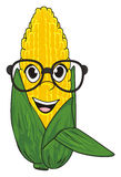 Corn in glasses. Smiling face of corn in black glasses Royalty Free Stock Image