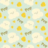 Corn grain and popcorn cute cartoon seamless pattern background illustration Stock Images