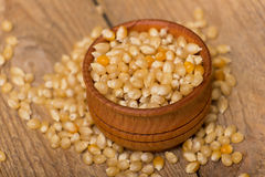 Corn grains. White corn grains in a pot on a wooden background Stock Images