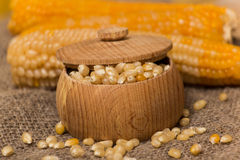 Corn grains. White corn grains in a pot on a wooden background Royalty Free Stock Photos