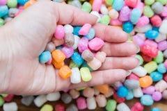 Corn granules for children to play. Macro Stock Photo