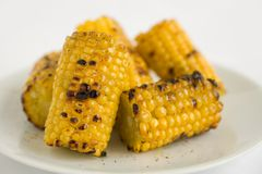 Corn Grilled. Yellow Sweet Corn Char Grilled. A compliment to any Barbeque or picnic Stock Photos