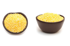 Corn grits in bowl Royalty Free Stock Images