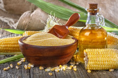 Corn, grits and corn oil Royalty Free Stock Photos