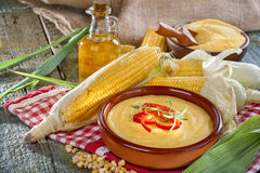 Corn, grits and corn oil Stock Photo