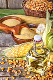 Corn with grits polenta and corn oil Royalty Free Stock Photos