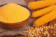 Corn groats in a bowl, whole grain and cob on a wooden Royalty Free Stock Images