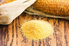 Corn groats and seeds Royalty Free Stock Image