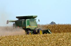 Corn harvest. Picking corn with a combine during the fall harvest Royalty Free Stock Image